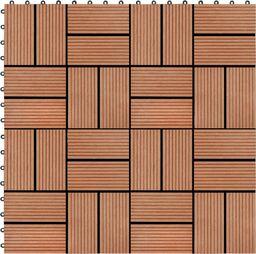 vidaXL Płytki tarasowe, 11 szt., WPC, 30 x 30 cm, 1 m, kolor tekowy