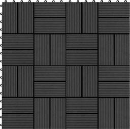 vidaXL Płytki tarasowe, 11 szt., WPC, 30 x 30 cm, 1 m, czarne