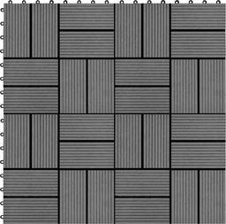 vidaXL Płytki tarasowe, 11 szt., WPC, 30 x 30 cm, 1 m, szare