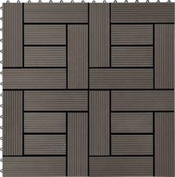 vidaXL Płytki tarasowe, 11 szt., WPC, 30 x 30 cm, 1 m, ciemny brąz