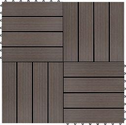 vidaXL Płytki tarasowe, 22 szt., 30 x 30 cm, 2 m, WPC, ciemnobrązowe