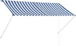 vidaXL Markiza zwijana, 250 x 150 cm, niebiesko-biała