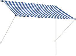 vidaXL Markiza zwijana, 200 x 150 cm, niebiesko-biała