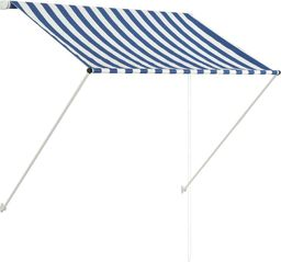 vidaXL Markiza zwijana, 150 x 150 cm, niebiesko-biała