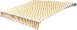 vidaXL Tkanina do markizy, żółto-biała, 3 x 2,5 m (bez ramy)