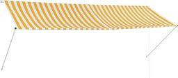 vidaXL Markiza zwijana, 350 x 150 cm, żółto-biała