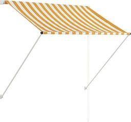 vidaXL Markiza zwijana, 150 x 150 cm, żółto-biała