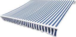 vidaXL Tkanina do markizy, niebiesko-biała, 3 x 2,5 m (bez ramy)