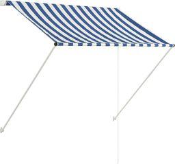 vidaXL Markiza zwijana, 100 x 150 cm, biało-niebieska
