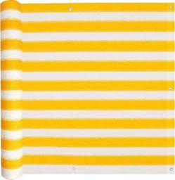 vidaXL Parawan balkonowy, HDPE, 75x600 cm, żółto-biały