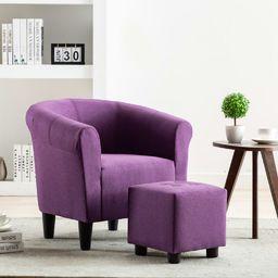 vidaXL 2-częściowy zestaw: fotel z podnóżkiem, fioletowy, tkanina