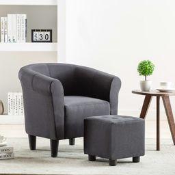 vidaXL 2-częściowy zestaw: fotel z podnóżkiem, czarny, tkanina