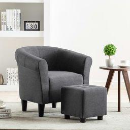 vidaXL 2-częściowy zestaw: fotel z podnóżkiem, ciemnoszary, tkanina