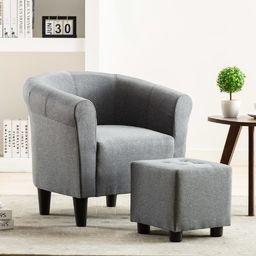 vidaXL 2-częściowy zestaw: fotel z podnóżkiem, jasnoszary, tkanina