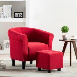 vidaXL 2-częściowy zestaw, fotel z podnóżkiem, czerwone wino, tkanina