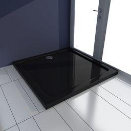 Brodzik vidaXL Brodzik prysznicowy kwadratowy, ABS, czarny, 80 x 80 cm