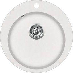 vidaXL Granitowy zlewozmywak jednokomorowy, okrągły, biały