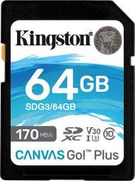 Karta Kingston Canvas Go! Plus SDXC 64 GB Class 10 UHS-I/U3 V30 (SDG3/64GB)