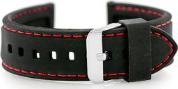 Pasek gumowy do zegarka - przeszywany czarny/czerwone 22mm uniwersalny
