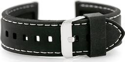 Pasek gumowy do zegarka - przeszywany czarny/białe 22mm uniwersalny