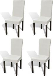 vidaXL Elastyczne pokrowce na krzesło w prostym stylu kremowe, 4 szt.