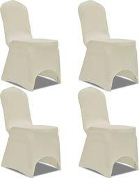vidaXL Elastyczne pokrowce na krzesło kremowe 4 szt.