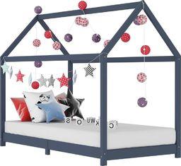 vidaXL Rama łóżka dziecięcego, szara, lite drewno sosnowe, 70 x 140 cm
