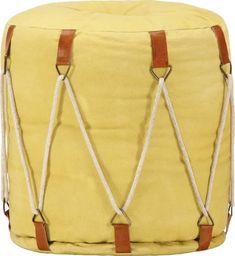 vidaXL Puf żółty, 40x40 cm, płótno bawełniane