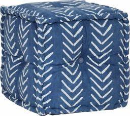vidaXL Kwadratowy puf bawełniany ze wzorem, 40 x 40 cm, indygo