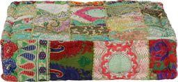 vidaXL Kwadratowy puf patchworkowy, bawełna, 50x50x12 cm, zielony