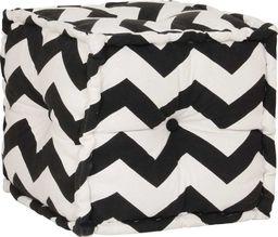 vidaXL Kwadratowy puf bawełniany ze wzorem, 40 x 40 cm, czarno-biały