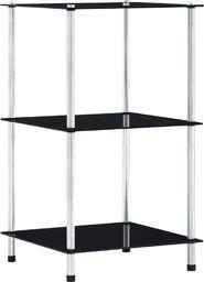 vidaXL 3-poziomowa półka, czarna, 40x40x67 cm, szkło hartowane