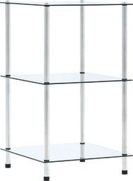 vidaXL 3-poziomowa półka, przezroczysta, 40x40x67 cm, szkło hartowane