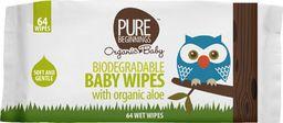 Pure Beginnings PBO, Biodegradowalne chusteczki nawilżane z organicznym aloesem, 64szt.