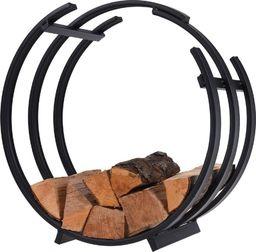 Ambiance Stojak na drewno kominkowe stojak metalowy czarny uniwersalny