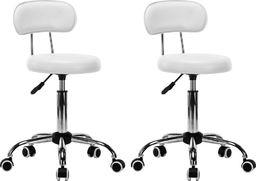 vidaXL Krzesła kosmetyczne, 2 szt., obrotowe, sztuczna skóra, białe