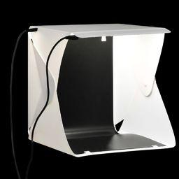 vidaXL Składany lightbox studyjny z lampami LED, 23x25x25 cm, biały