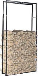 vidaXL Stojak na drewno opałowe, czarny, 100 x 25 x 200 cm, stalowy