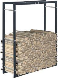 vidaXL Stojak na drewno opałowe, czarny, 80 x 25 x 100 cm, stalowy