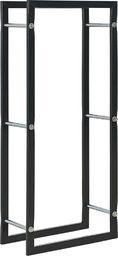 vidaXL Stojak na drewno opałowe, czarny, 44 x 20 x 100 cm, stalowy