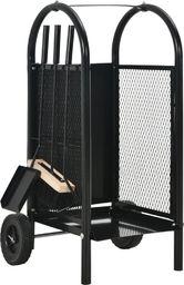 vidaXL Wózek na drewno opałowe, czarny, 30 x 35 x 81 cm, stal