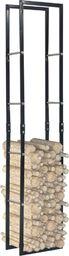 vidaXL Stojak na drewno opałowe, czarny, 40 x 25 x 200 cm, stalowy