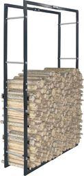 vidaXL Stojak na drewno opałowe, czarny, 80 x 25 x 150 cm, stalowy