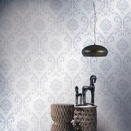 vidaXL Tapeta, 4 rolki, biała, 0,53 x 10 m, z ornamentem