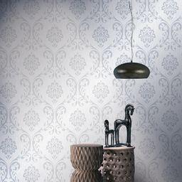 vidaXL Tapeta, 2 rolki, biała, 0,53 x 10 m, z ornamentem