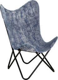 vidaXL Krzesło motyl, niebieskie, płótno