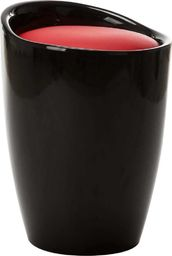 vidaXL Stołek ze schowkiem, czarno-czerwony, sztuczna skóra