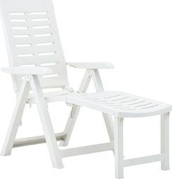 vidaXL składany leżak, plastikowy, biały (48757)