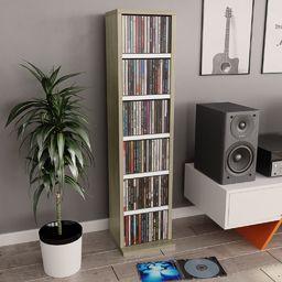 vidaXL Szafka na CD,  biały i dąb sonoma, 21x16x88 cm, płyta wiórowa