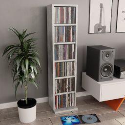 vidaXL Szafka na CD, betonowy szary, 21x16x88 cm, płyta wiórowa